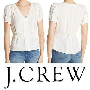 J. Crew Short Sleeve Button Peplum Blouse Ivory XS